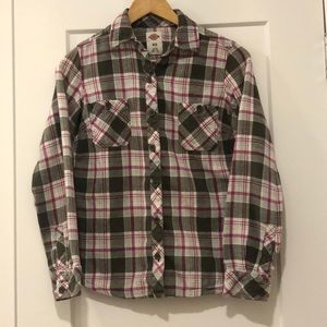 Dickies flannel green white pink